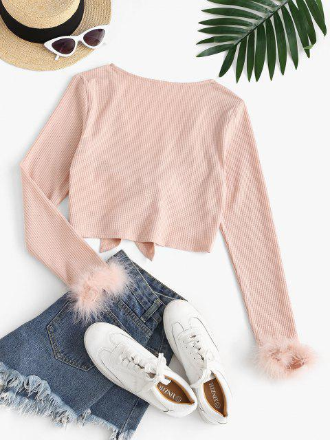 women ZAFUL Faux Feather Tie Front Crop T-shirt - PINK XL Mobile