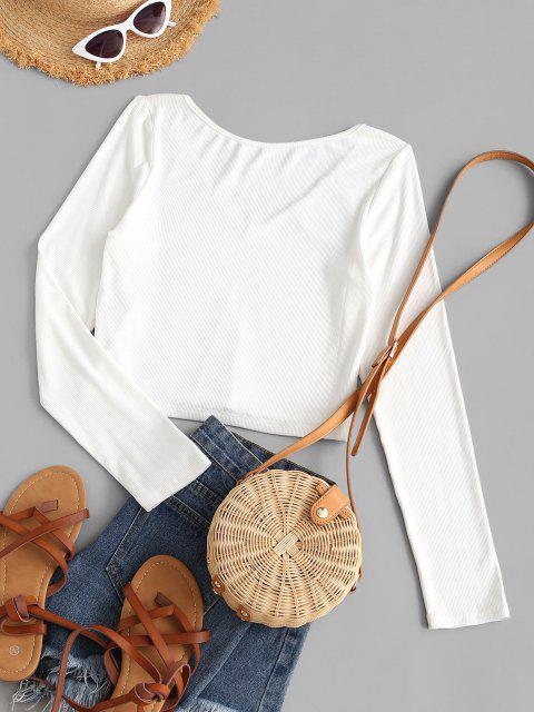 ZAFUL T-shirt com Nervuras com Gola em V Cortado - Branco S Mobile