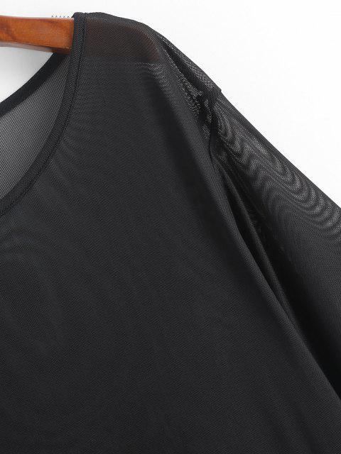 trendy Plain Sheer Mesh Cover Up Top - BLACK S Mobile