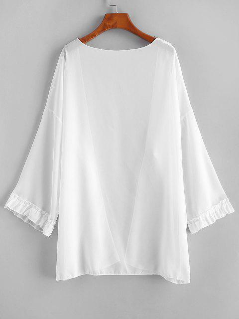 outfits Open Front Frilled Chiffon Cover Up - WHITE ONE SIZE Mobile