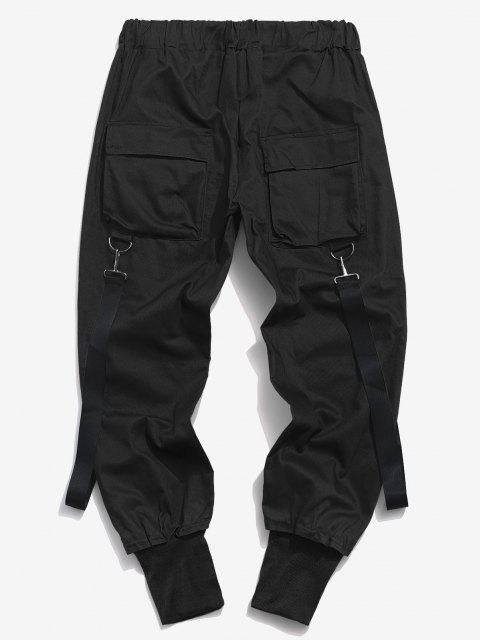 Pantalones Casual Bolsillos y Zipper - Negro M Mobile