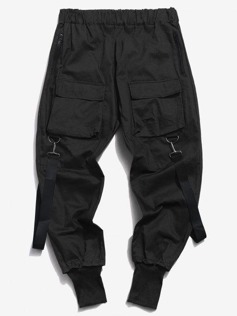 shops Multi Pockets Casual Cargo Pants - BLACK M Mobile