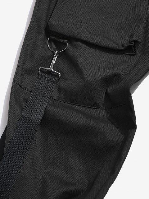 Pantalon Décontracté Cargo Multi-poches - Noir L Mobile
