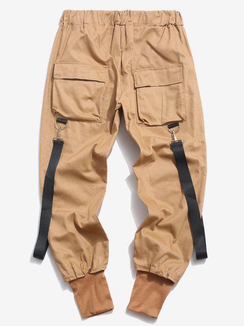 Pantalones Casual Bolsillos y Zipper - café luz XS Mobile