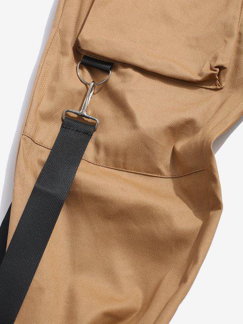 shop Multi Pockets Casual Cargo Pants - LIGHT COFFEE XL Mobile