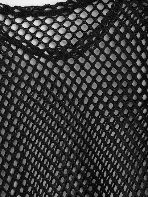 shop Hollow Cut Fishnet Cover Up Mini Dress - BLACK L Mobile