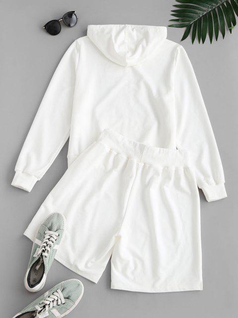 new ZAFUL Letter Hooded Drawstring Bermuda Shorts Set - WHITE L Mobile