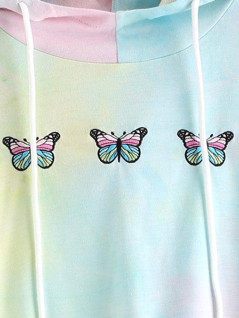 ZAFUL Sweat à Capuche Teinté Papillon Brodé à Cordon - Chartreuse S Mobile