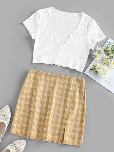 ZAFUL Plaid Slit Notched Mix And Match Skirt Set - Yellow L