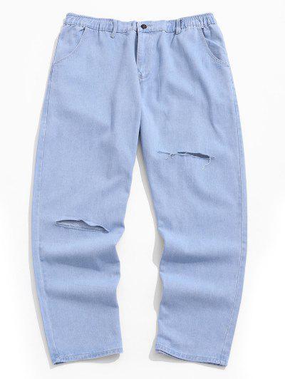 Ripped Wide Leg Jeans - Light Blue 4xl
