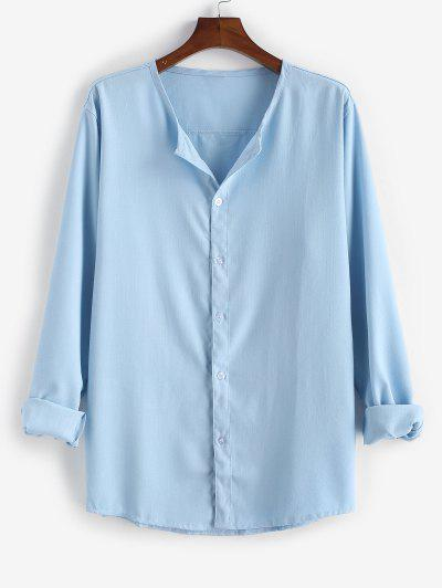 Basic Casual Plain Long Sleeve Shirt - Blue 2xl