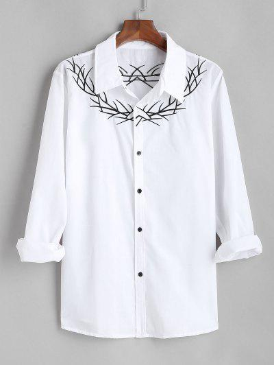 Embroidered  Long Sleeves Shirt - White Xl