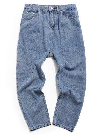 Zip Fly Straight Wide Leg Jeans - Denim Blue 2xl