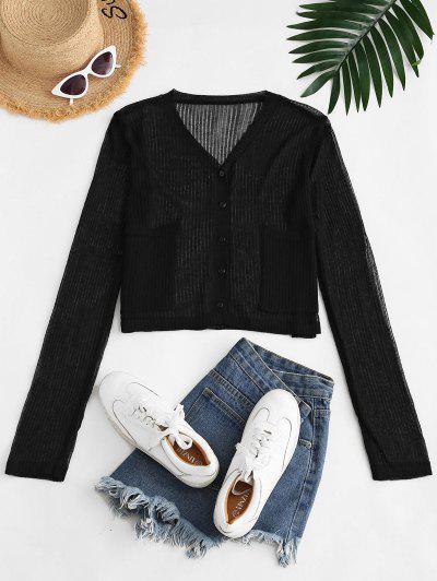 Semi-sheer Front Pocket Cardigan - Black
