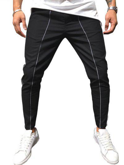 Striped Pattern Long Sport Pants - Black 2xl
