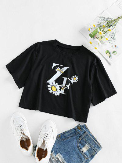 ZAFUL Flower Bee Letter Print Crop T-shirt - Black S