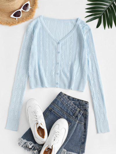 Button Up Pointelle Knit Cardigan - Blue