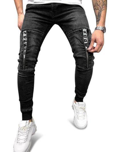 Zipper Patchwork Elastic Waist Denim Pants - Black 2xl