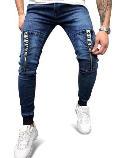 Zipper Patchwork Elastic Waist Denim Pants - Midnight Blue M