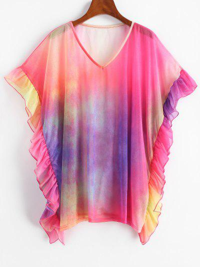 V Neck Tie Dye Ruffles Cover Up Top - Multi