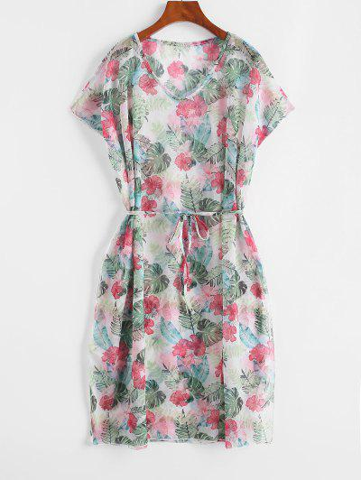 Belted Floral Leaves Print Cover Up Dress - Light Green