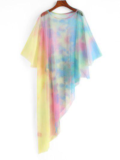 Robe De Plage Poncho Teinté En Maille Transparente - Multi