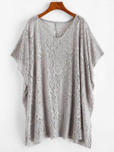 Lace Cover Up Poncho Dress - Light Gray