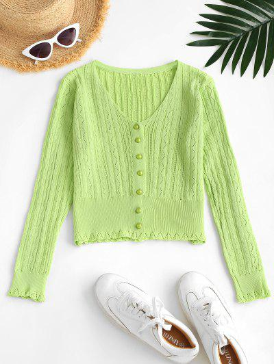 Pointelle Knit Cardigan - Light Green