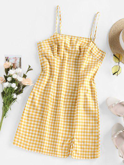 Checkered Side Slit Cami Holiday Dress - Bee Yellow S