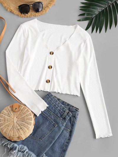 ZAFUL Ribbed Mock Button Plain Lettuce Trim T-shirt - White L