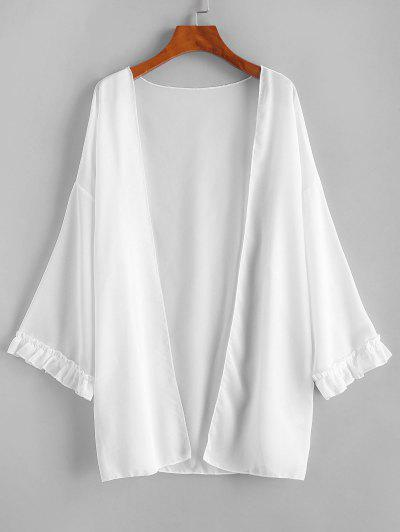 Open Front Frilled Chiffon Cover Up - White