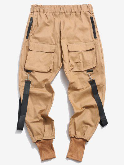 Multi Pockets Casual Cargo Pants - Light Coffee L