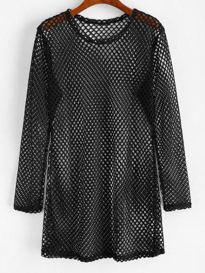 Hollow Cut Fishnet Cover Up Mini Dress - Black M