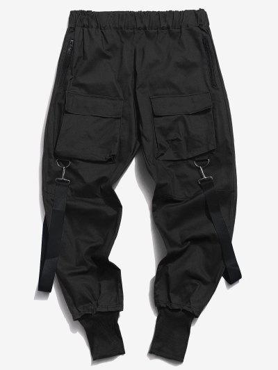 Pantalones Casual Bolsillos Y Zipper - Negro L