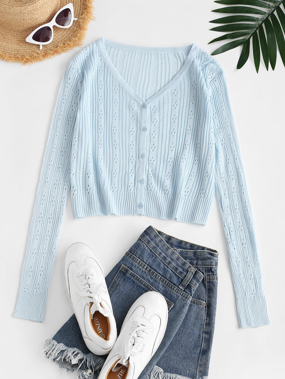 Button Up Pointelle Knit Cardigan