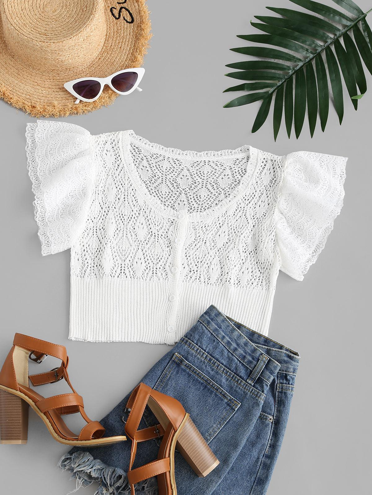 Pointelle Knit Tiered Lace Sleeve Cropped Cardigan