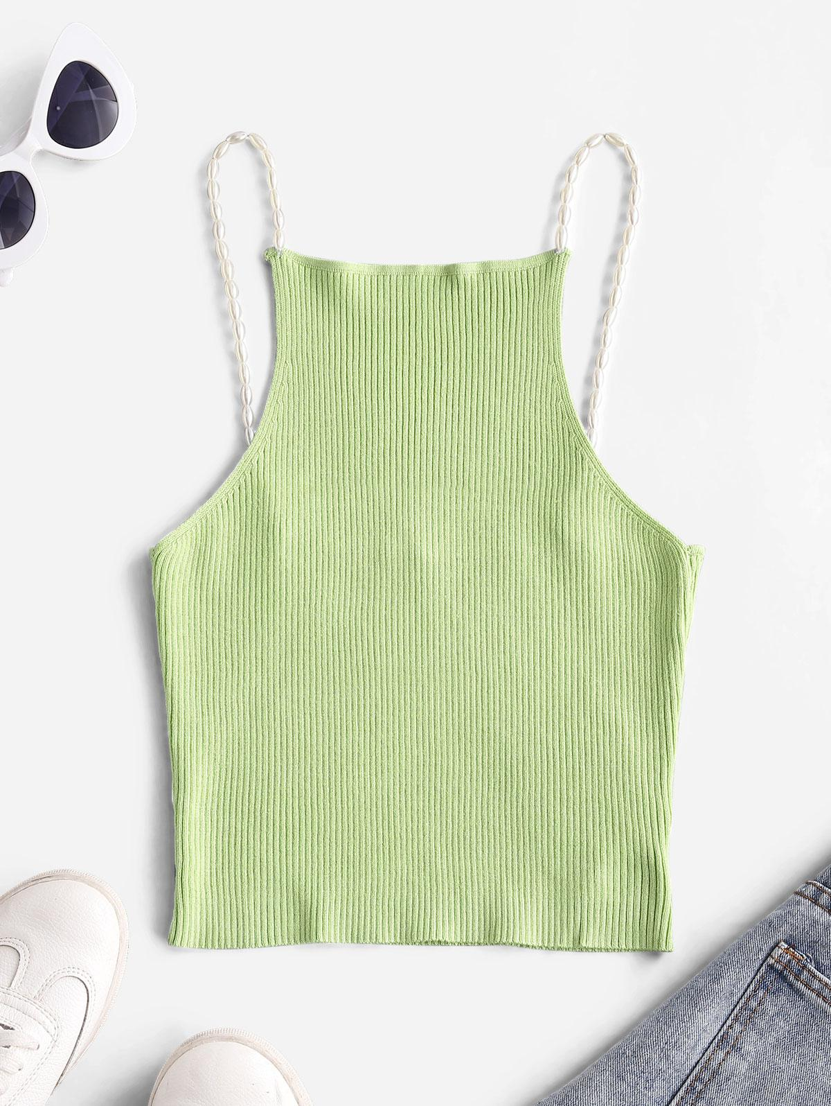 Ribbed Faux Pearls Straps Knitted Tank Top
