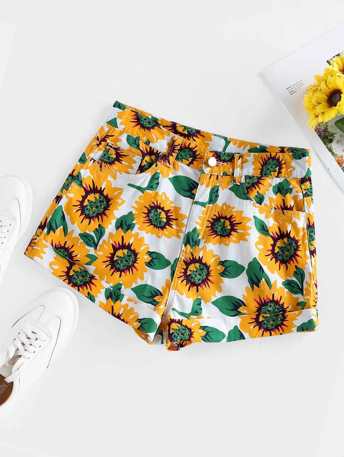 ZAFUL Sunflower Print Denim Shorts