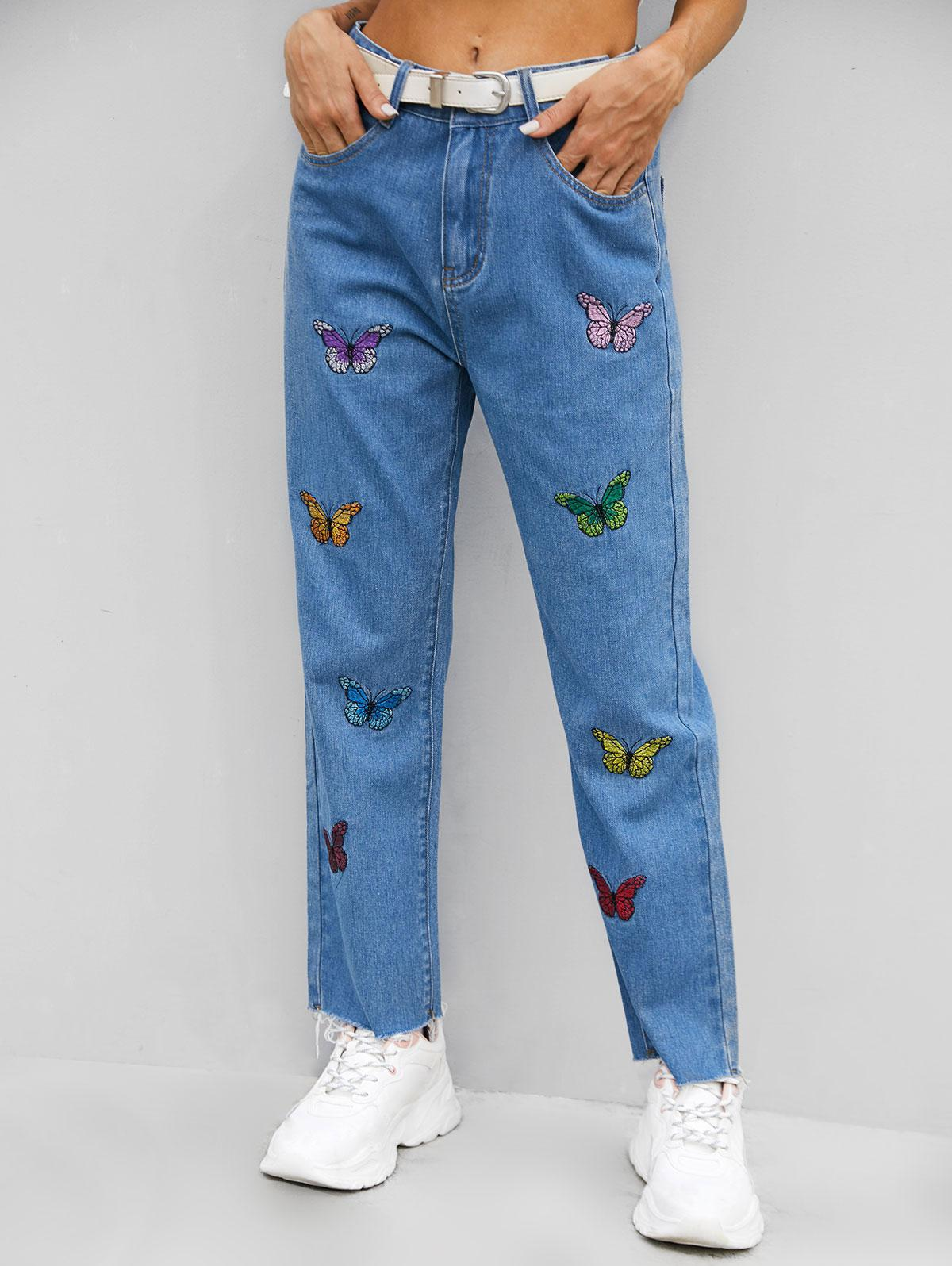 Multicolored Butterfly Embroidered Frayed Hem Jeans