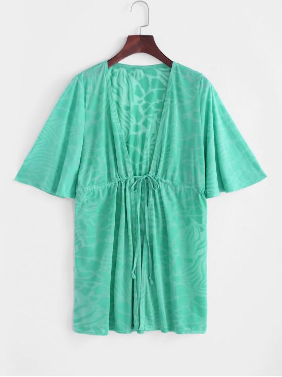 Drawstring Plunge Kimono Beach Cover Up - اخضر فاتح حجم واحد