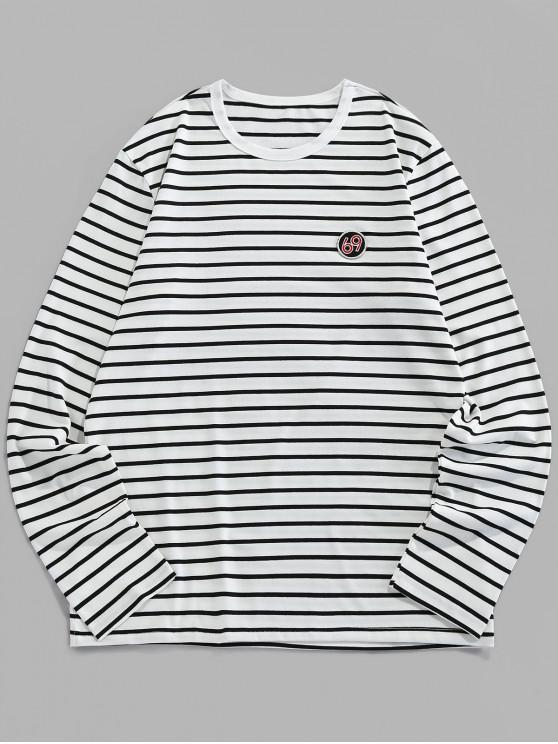 ZAFUL T-shirt de Manga Comprida com Bordado Listrado - Branco 2XL