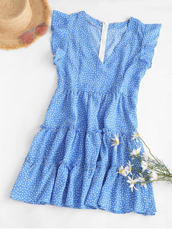 latest Flutter Sleeve Raindrop Print Mini Dress - BLUE L