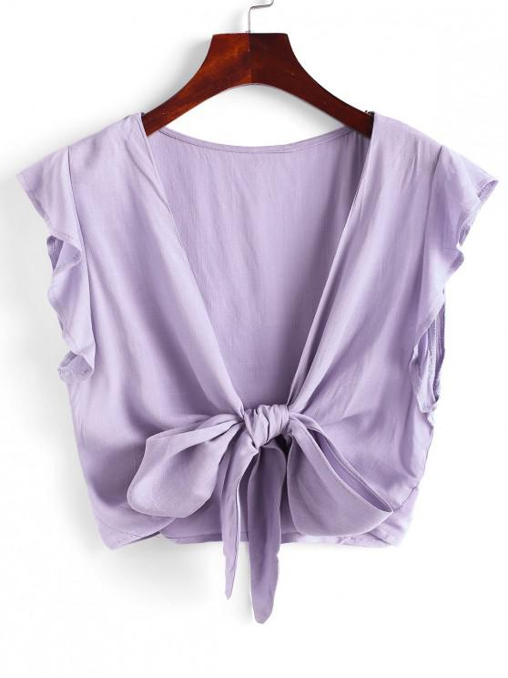 affordable Tie Front Ruffled Sleeve Cropped Blouse - LIGHT PURPLE S