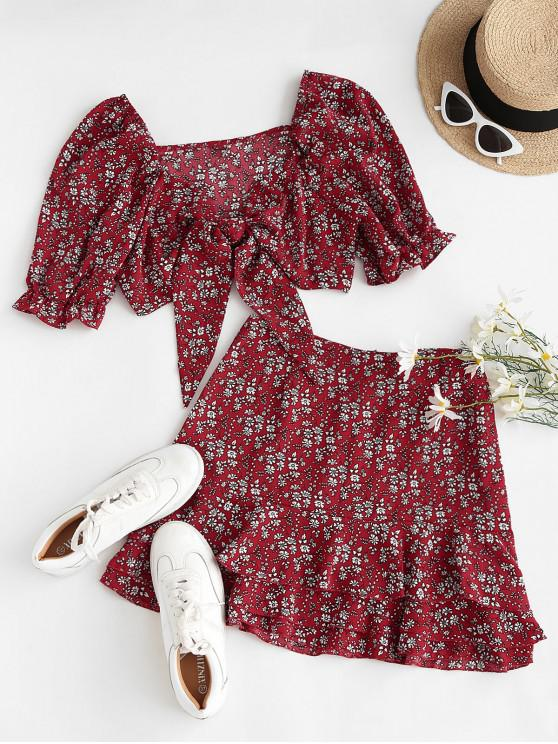 outfit Ditsy Floral Puff Sleeve Layered Ruffles Two Piece Dress - RED M
