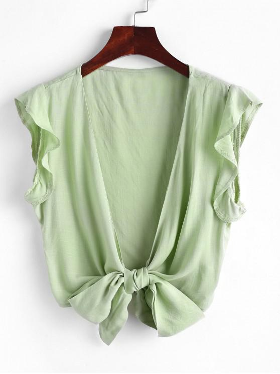 latest Tie Front Ruffled Sleeve Cropped Blouse - LIGHT GREEN S