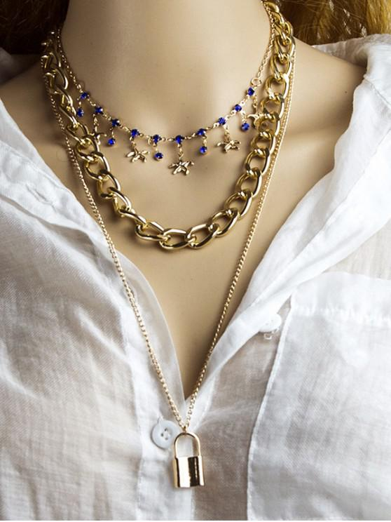 womens 3Pcs Lock Starfish Charm Necklace Set - GOLDEN