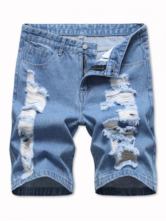 Ladder Distressed Jean Shorts - أزرق فاتح 32