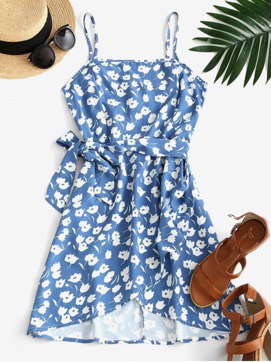 ladies Floral Tie Waist Smocked Back Mini Dress - BLUE S