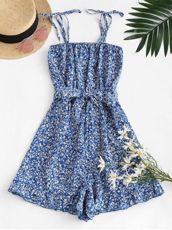 best Ruffled Hem Tie Shoulder Ditsy Floral Romper - BLUE S
