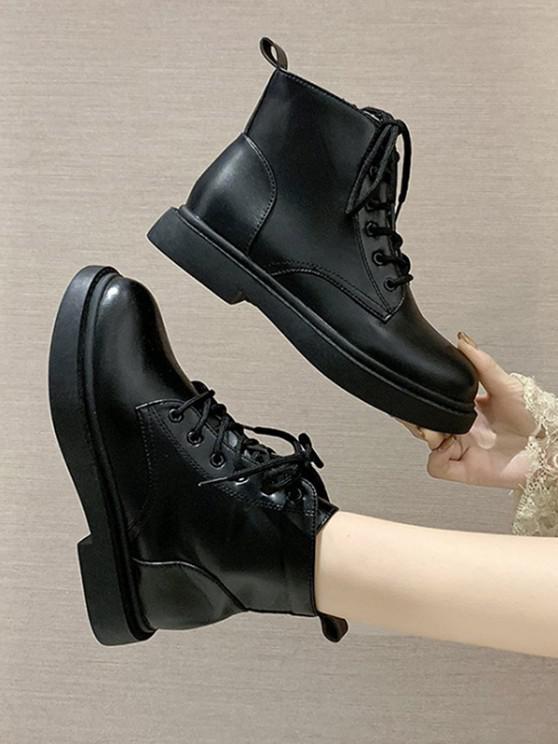 women's Plain PU Leather Cargo Ankle Boots - BLACK EU 37